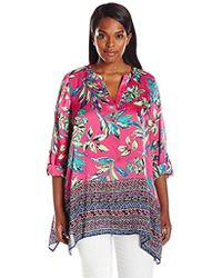 Rafaella - Plus Size Jungle Brights Print Crinkle Poly Top - Lyst