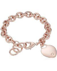 "Guess - ""basic"" G Logo Heart Link Bracelet - Lyst"