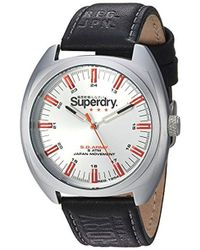 Superdry - 'infantry' Quartz Silver-tone And Leather Casual Watch, Color:black (model: Syg228b) - Lyst