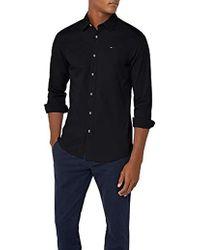 bb0e43bc Tommy Hilfiger Men's Original Slim Fit Logo Shirt, Black Men's Long ...