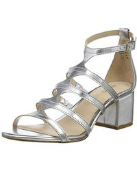 07c95ceb10 ALDO Norta Silver Heeled Cut Out Embellished Sandals in Metallic - Lyst
