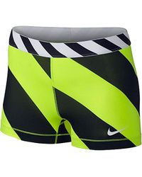 "Nike - Pro Diagonal Stripe 3"" Compression Training Shorts,volt/black - Lyst"