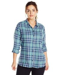 eb542910405 Lyst - Dickies Plus-size Long-sleeve Plaid Flannel Shirt in Blue