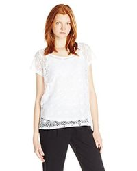 Rafaella - Missy Scoop Neck Top With Lace Overlay - Lyst