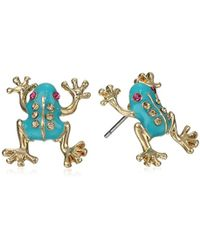 Betsey Johnson - S Frog Stud Earrings - Lyst