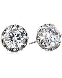 "Betsey Johnson - ""cz Ears"" Crystal Cubic Zirconia Ruffled Round Stud Earrings - Lyst"