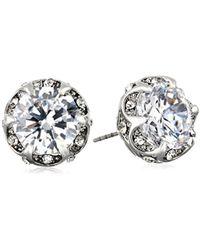 "Betsey Johnson - ""cz Ears"" Crystal Cubic Zirconia Ruffled Round Stud Earrings - Lyst"