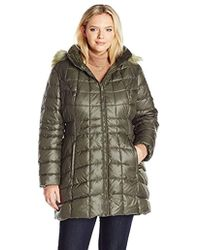 Jones New York - Plus Size Polyfill Mid Length Coat With Sherpa Lined Hood - Lyst
