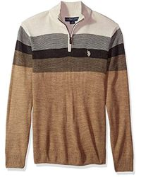 U.S. POLO ASSN. - Stripe Color Block V-neck Sweater - Lyst