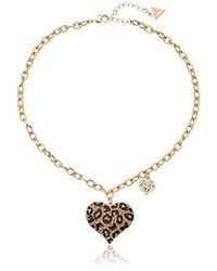 Guess - S Gone Wild Animal Print Heart Necklace - Lyst