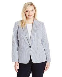 Nine West - Plus Size 1 Button Notch Collar Stripe Jacket - Lyst
