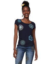 8782015b Amazon. Desigual - T-Shirt Short Sleeve Sonja Woman Blue Camiseta para Mujer  - Lyst