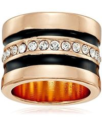 """Guess - """"basic"""" Jet And Gold Wide Band With Enamel And Stones Ring, Size 8 - Lyst"""
