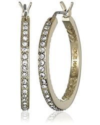 Cole Haan - Look Of Real Basics Pave Medium With Basket Weave Hoop Earrings - Lyst