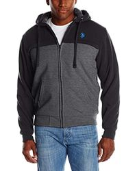 U.S. POLO ASSN. - Sherpa Lined Color Block Hooded Fleece Jacket - Lyst