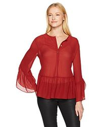 Max Studio - Max Studio Solid Blouse With Bel Sleeve And Flutter Hem - Lyst