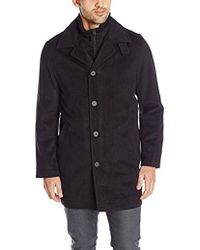 Nautica - Wool-blend Topcoat With Knit-collar Insert - Lyst