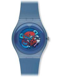 Swatch - Unisex Suon102 Quartz Plastic Skeletal Blue Dial Watch - Lyst