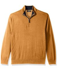 Nautica - Long Sleeve 1/4 Zip Solid Sweater Suede Pull Detail - Lyst