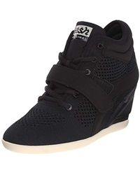 a02995bc89e4 Lyst - Ash Bebop Knit Wedge Sneaker in Black