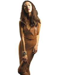 Sheri Bodell - Faux Suede Dress In Cognac - Lyst