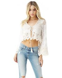 Sky Clothing Collection | Sky Banu Crop Lace Top In Bone | Lyst