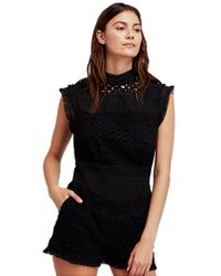Free People - Victoria Lace Romper In Black - Lyst