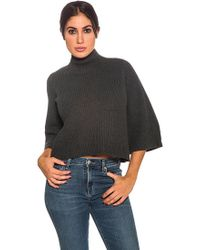 525 America - Mock Neck Sweater In Charcoal - Lyst