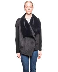 5d47286643fb John + Jenn Ellis Double-breasted Jacket With Faux-fur Collar in Blue - Lyst