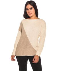 Metric Knits - Color Block High Low Sweater In Tan/oat - Lyst