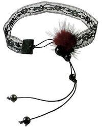 Sibilla G Jewelry - Sibilla G Lace Choker With Fur Mini Pom Pom - Lyst