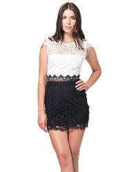 54e98c713ac Karina Grimaldi - Corossol Combo Lace Mini Dress Black   White - Lyst
