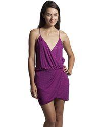 Sheri Bodell | Crystal Front Wrap Dress In Fuchsia | Lyst