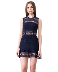 Karina Grimaldi | Felicia Lace Mini Dress In Indigo | Lyst