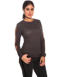 Michael Lauren - Long Sleeve Top With Slits In Graphite - Lyst