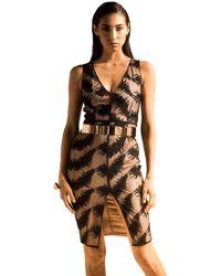 Sheri Bodell - V Neck Feather Lace Slit Dress In Black - Lyst