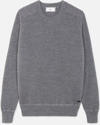AMI - Crew Neck Elbow Patches Fisherman's Rib Sweater - Lyst