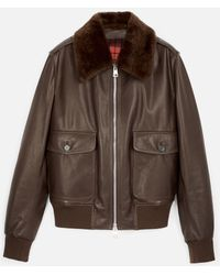 AMI - Jacket With Shearling Collar - Lyst