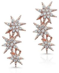 Anne Sisteron - 14kt Rose Gold Diamond Triple Starburst Earrings - Lyst
