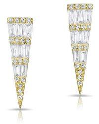 Anne Sisteron - 14kt Yellow Gold Baguette Diamond Dagger Stud Earrings - Lyst