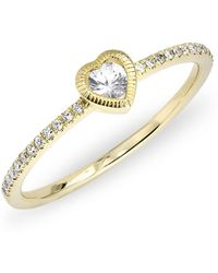 Anne Sisteron | 14kt Yellow Gold White Sapphire Heart Solitaire Diamond Ring | Lyst
