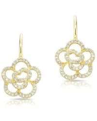 Anne Sisteron - 14kt Yellow Gold Diamond Camellia Flower Wireback Earrings - Lyst