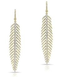 Anne Sisteron - 14kt Yellow And White Gold Diamond Feather Earrings - Lyst