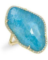 Anne Sisteron - 14kt Yellow Gold Blue Apatite Nuage Diamond Ring - Lyst