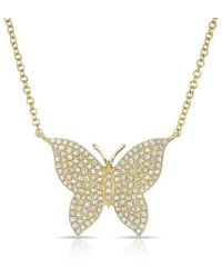 Anne Sisteron - 14kt Yellow Gold Pave Diamond Butterfly Necklace - Lyst