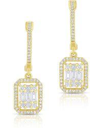 Anne Sisteron - 14kt Yellow Gold Baguette Diamond Rectangle Ryleigh Drop Earrings - Lyst