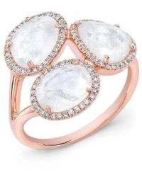 Anne Sisteron - 14kt Rose Gold Moonstone Diamond Trinity Ring - Lyst