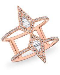 Anne Sisteron - 14kt Rose Gold Baguette Diamond Double Spear Ring - Lyst
