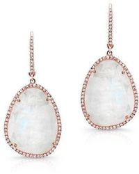 Anne Sisteron - 14kt Rose Gold Organic Moonstone Diamond Earrings - Lyst