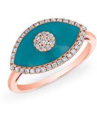 Anne Sisteron - 14kt Rose Gold Diamond Turquoise Evil Eye Summer Ring - Lyst